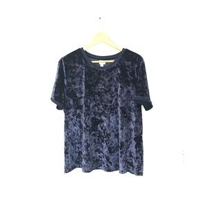 A NEW DAY Navy blue crushed velvet top size XL